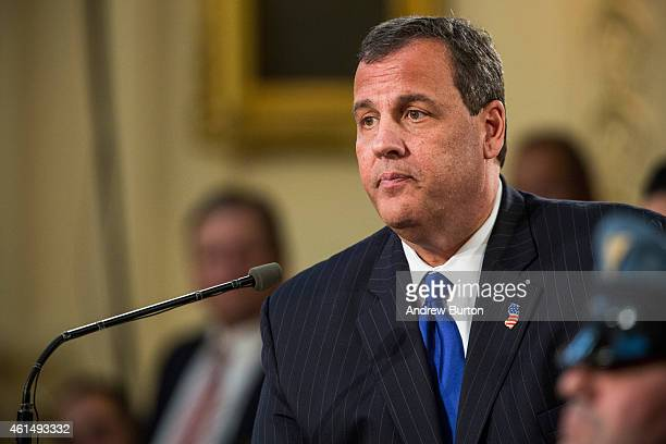 New Jersey Governor Chris Christie gives the annual State of the State address on January 13 2015 in Trenton New Jersey Christie addressed topics...