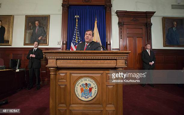 New Jersey Governor Chris Christie holds a news conference on March 28 2014 at New Jersey State House in Trenton This press conference his first...