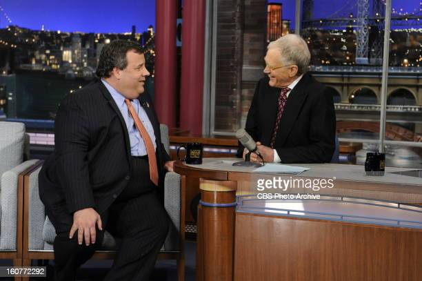 New Jersey Governor Chris Christie laughs with David Letterman when the governor makes his first visit to CBS' 'Late Show with David Letterman'...