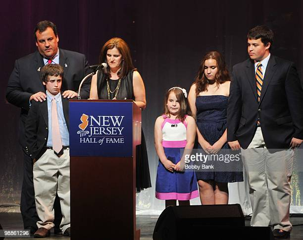 New Jersey Governor Chris Christie Mary Pat Christie and their children attend the 3rd Annual New Jersey Hall of Fame Induction Ceremony at the New...