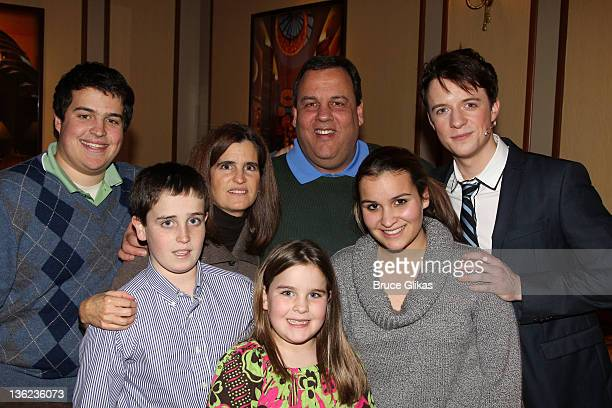 New Jersey Governor Chris Christie wife Mary Pat kids and Matthew James Thomas as Peter Parker pose backstage at the hit musical SpiderManTurn Off...