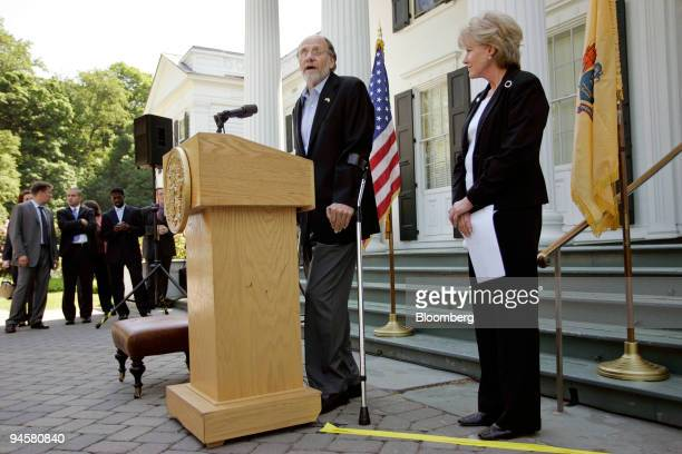 New Jersey Governor Jon Corzine left and US Transportation Secretary Mary E Peters hold a news conference about seat belt usage May 25 in Princeton...