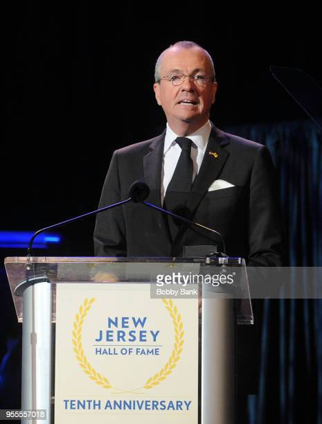 New Jersey Governor Phil Murphy attends the 2018 New Jersey Hall Of Fame Induction Ceremony at Asbury Park Convention Center on May 6 2018 in Asbury...