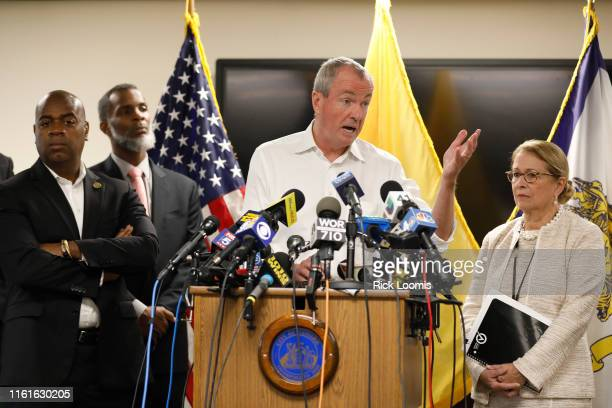 New Jersey Governor Phil Murphy speaks about Newark's ongoing water crisis during a press conference held at the Newark Health Department on August...