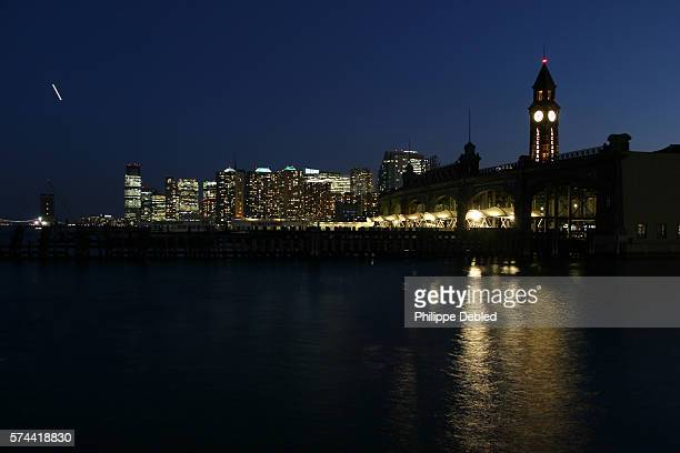USA, New Jersey, Hoboken, The Erie-Lackawanna Rail road and Ferry Terminal at night