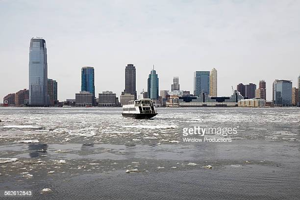USA, New Jersey, Hudson river, View of waterfront cityscape