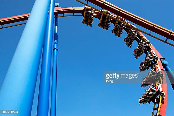 USA, New Jersey, Jackson, Rollercoaster against blue sky