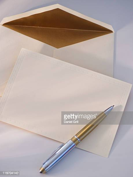 USA, New Jersey, Jersey City, blank paper, envelope and pen