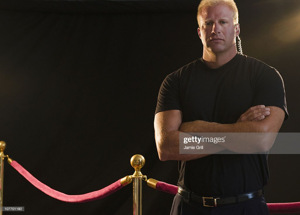 USA, New Jersey, Jersey City, Bouncer at red carpet event : Stock Photo
