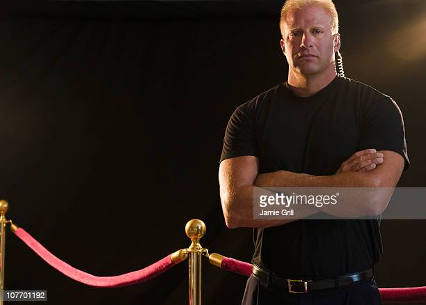 usa, new jersey, jersey city, bouncer at red carpet event - cordon boundary stock pictures, royalty-free photos & images