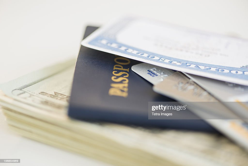 USA, New Jersey, Jersey City, Close of up passport and Social Security Card : Stock Photo