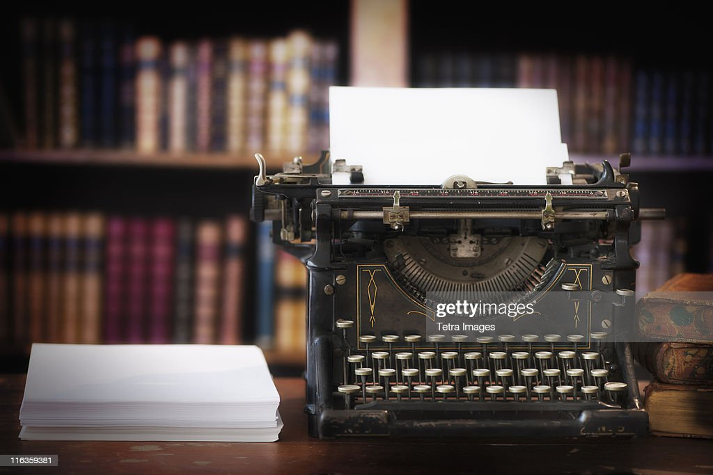 USA, New Jersey, Jersey City, close up of antique typewriter in library : Stock Photo