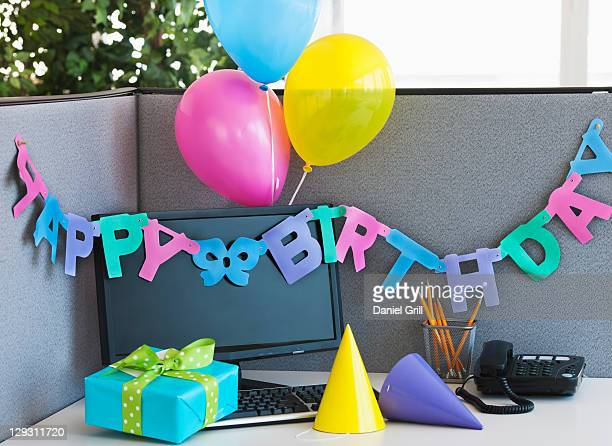 USA, New Jersey, Jersey City, Close up of birthday decorations on office desk