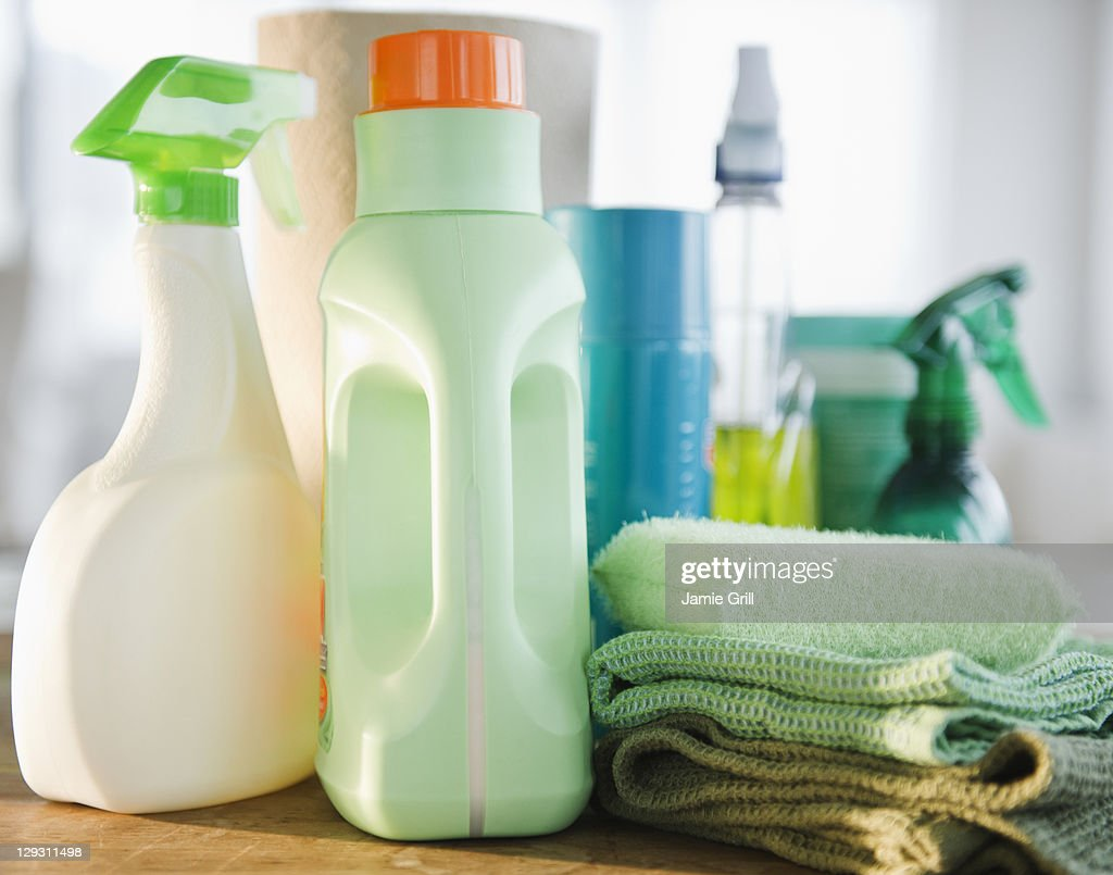 USA, New Jersey, Jersey City, Close up of detergents and cleaning equipment : Stock Photo