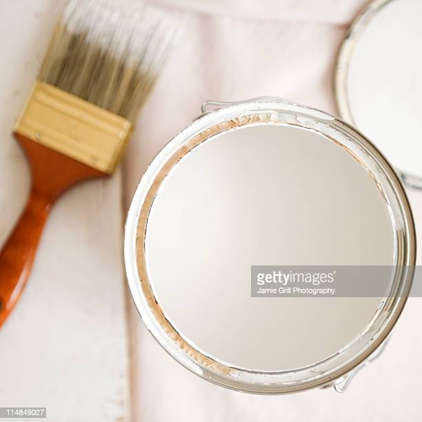 USA, New Jersey, Jersey City, close up of paint can and paint brush