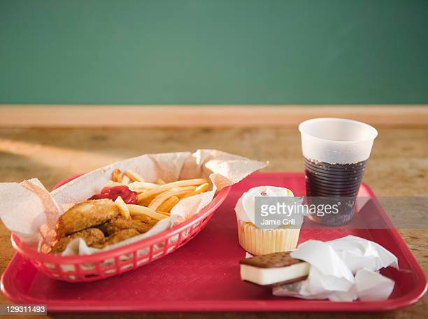 USA, New Jersey, Jersey City, Close up of unhealthy meal on tray