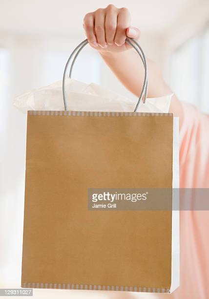 USA, New Jersey, Jersey City, Close up of woman's hand holding shopping bag