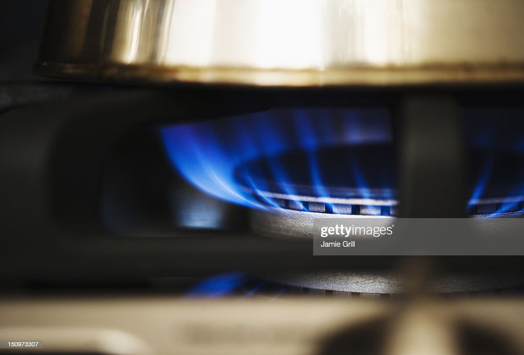 USA, New Jersey, Jersey City, Close-up of gas stove burner : Stock Photo