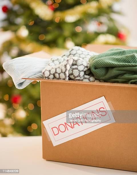 USA, New Jersey, Jersey City, Clothes donations box