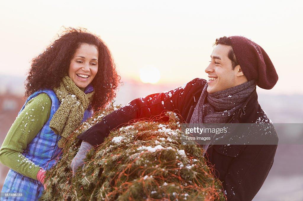 USA, New Jersey, Jersey City, Couple carrying christmas tree : Stock Photo
