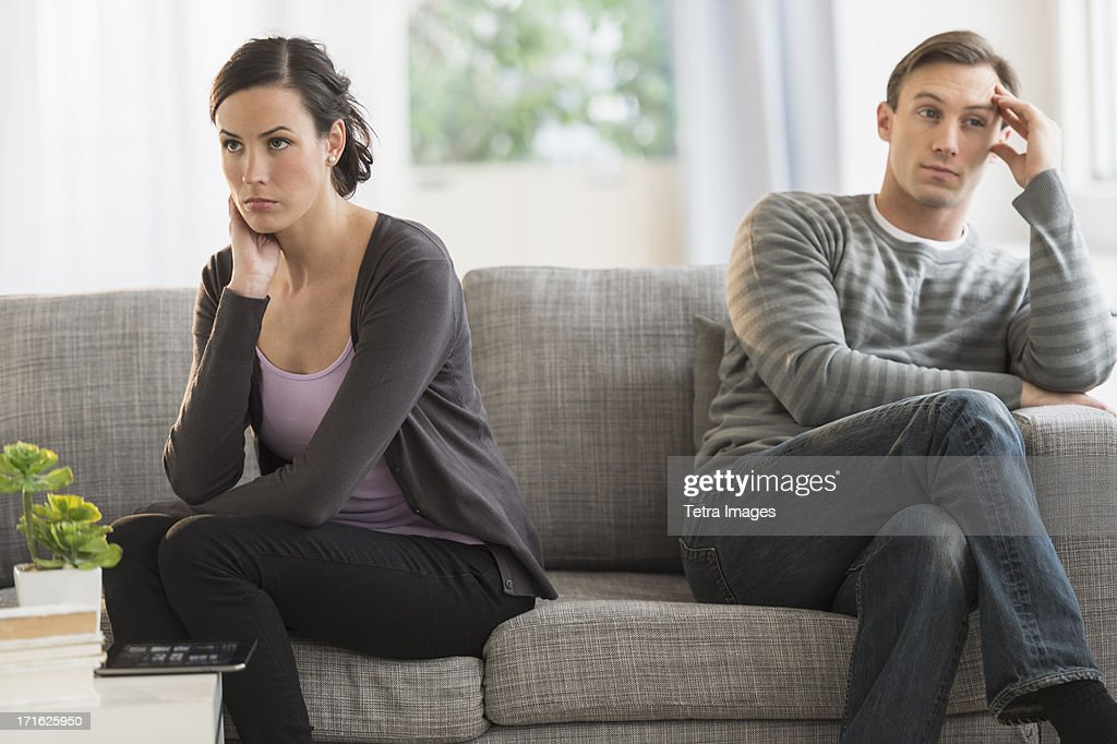 USA, New Jersey, Jersey City, Couple having argument : Stock Photo