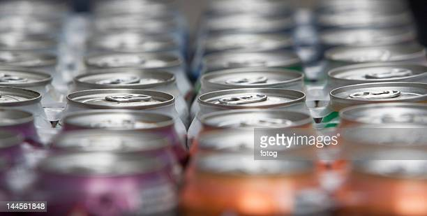 USA, New Jersey, Jersey City, drink cans in a row