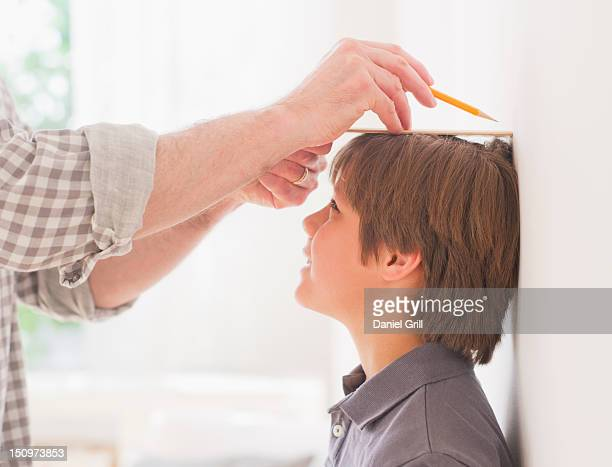 usa, new jersey, jersey city, father measuring son's (10-11 years) height - medir imagens e fotografias de stock