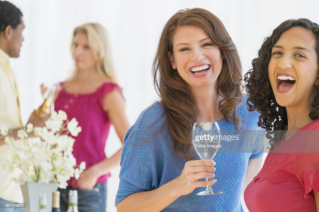 USA, New Jersey, Jersey City, Friends at party : Stock Photo