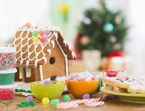 USA, New Jersey, Jersey City, Gingerbread decorations
