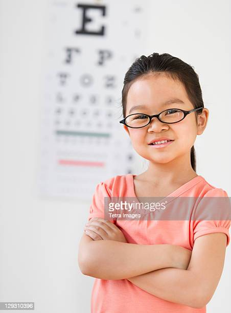 USA, New Jersey, Jersey City, Girl (6-7) at eye exam