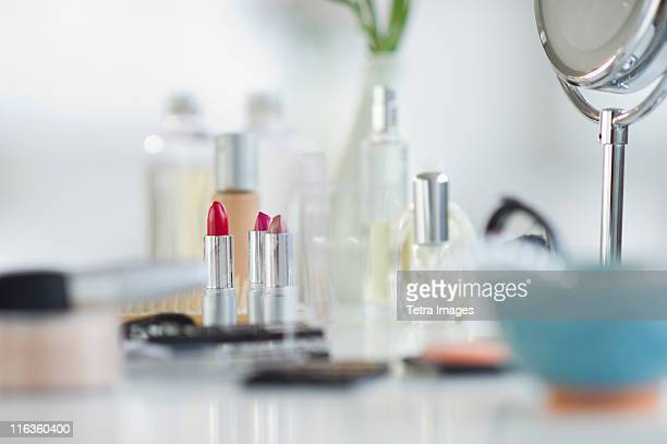 USA, New Jersey, Jersey City, make-up cosmetics on table