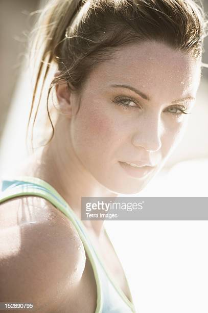 USA, New Jersey, Jersey City, Portrait of athletic woman