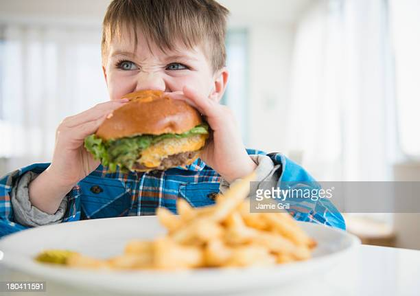 USA, New Jersey, Jersey City, Portrait of boy (4-5) eating hamburger