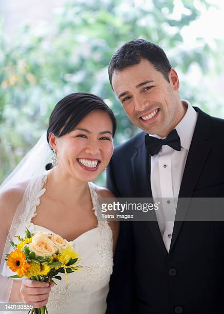 USA, New Jersey, Jersey City, Portrait of bride and groom
