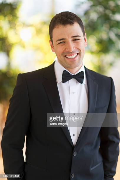 usa, new jersey, jersey city, portrait of bridegroom - dinner jacket stock pictures, royalty-free photos & images