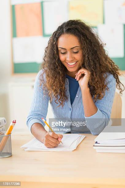 USA, New Jersey, Jersey City, Portrait of elementary school teacher in class
