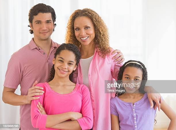 USA, New Jersey, Jersey City, Portrait of parents with daughters (10-13)