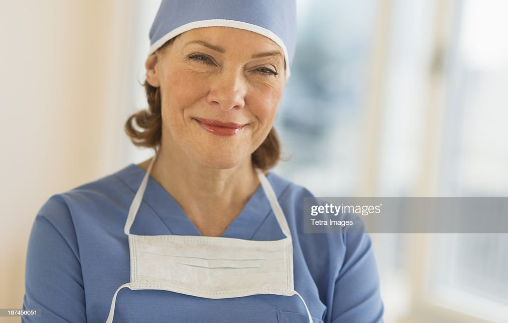 USA, New Jersey, Jersey City, Portrait of smiling female surgeon : Stock Photo
