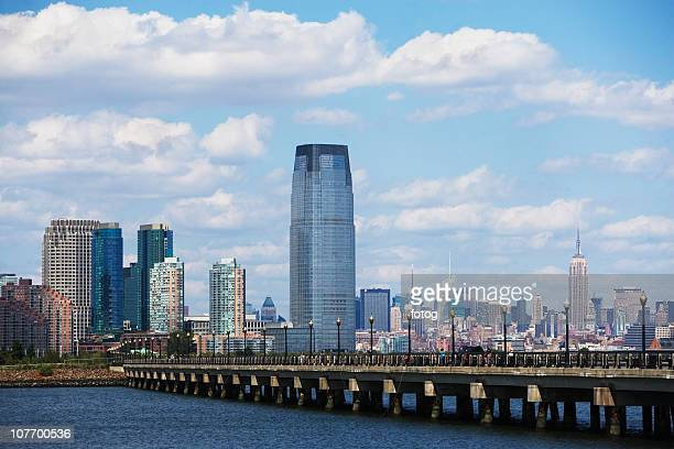 USA, New Jersey, Jersey City, Promenade, skyline in background