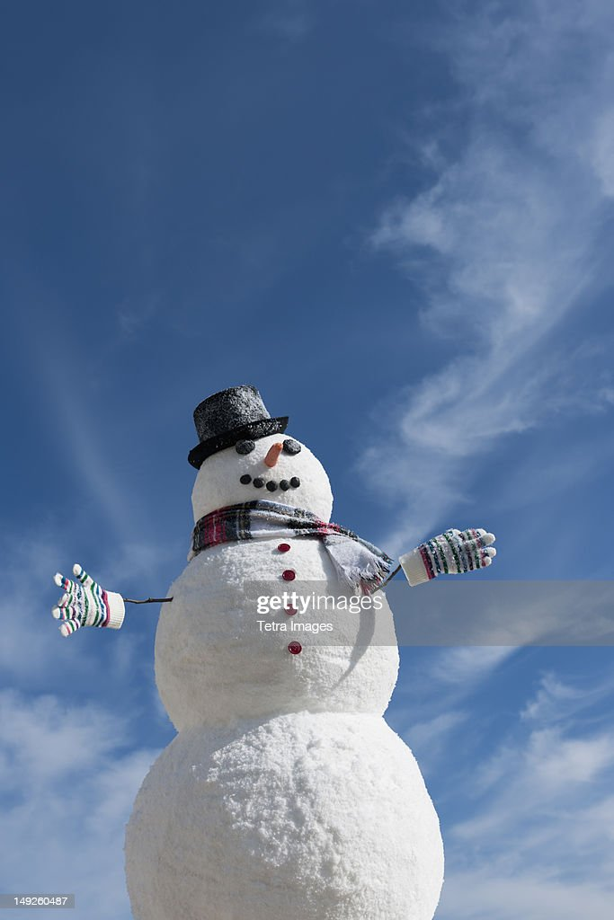 USA, New Jersey, Jersey City, Snowman under blue sky : ストックフォト