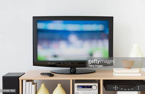 usa, new jersey, jersey city, television set - television set stock pictures, royalty-free photos & images