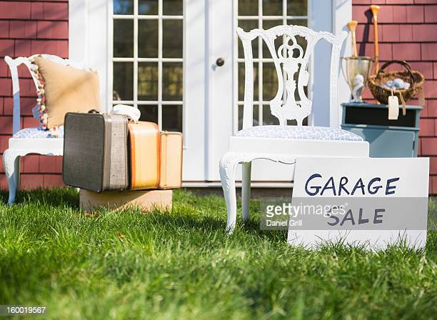 usa, new jersey, mendham, garage sale - garage sale stock pictures, royalty-free photos & images