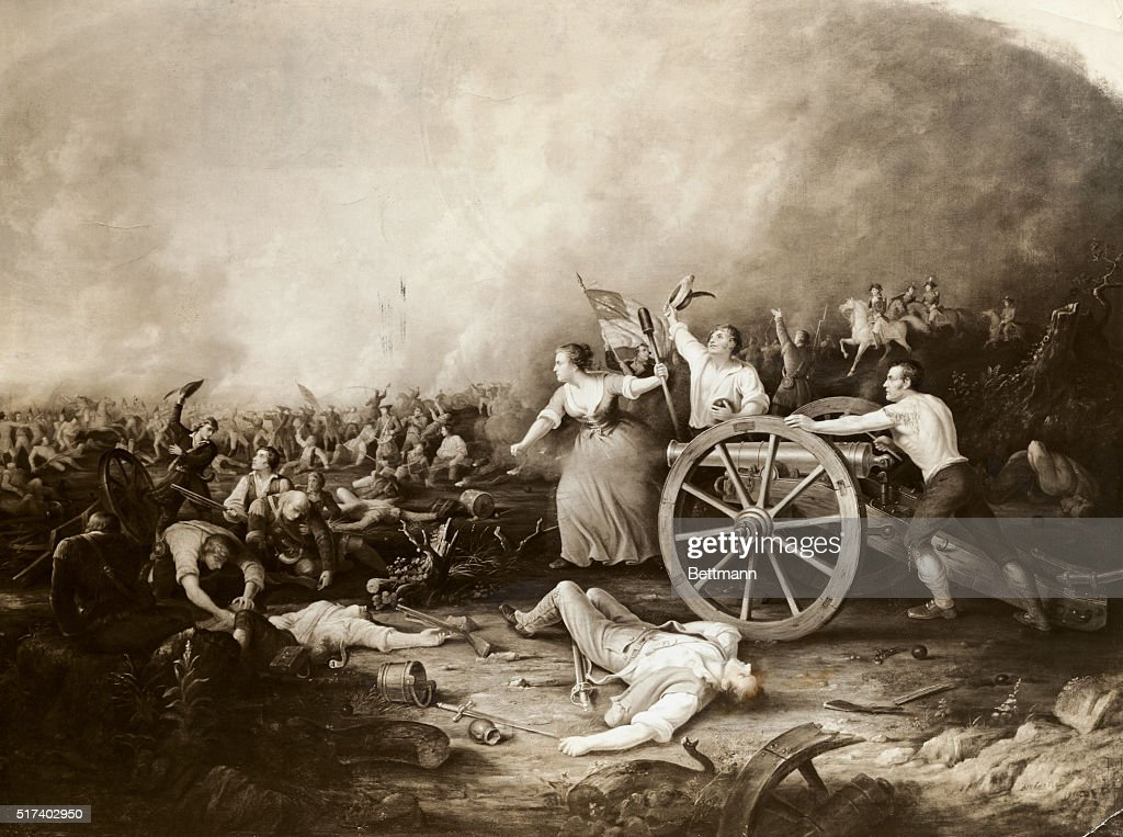 molly pitcher at the battle of monmouth after a painting by d m