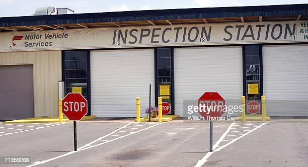 New Jersey Motor Vehicle Inspection Station remains closed July 3 2006 in Quakerbridge New Jersey Nonessential New Jersey government services have...