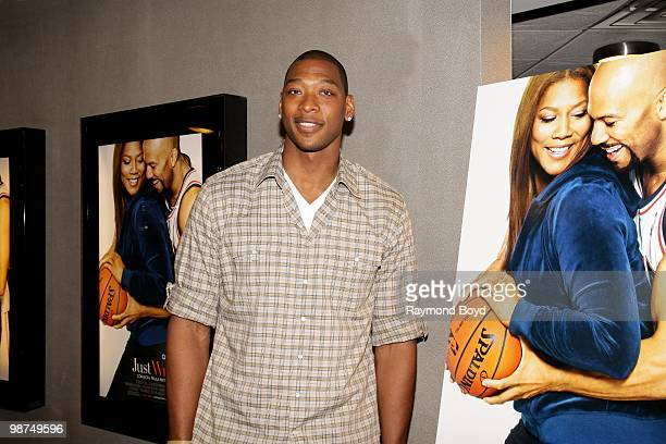New Jersey Nets basketball player and costar Bobby Simmons attends a red carpet screening of the film Just Wright at the AMC River East Theatres in...