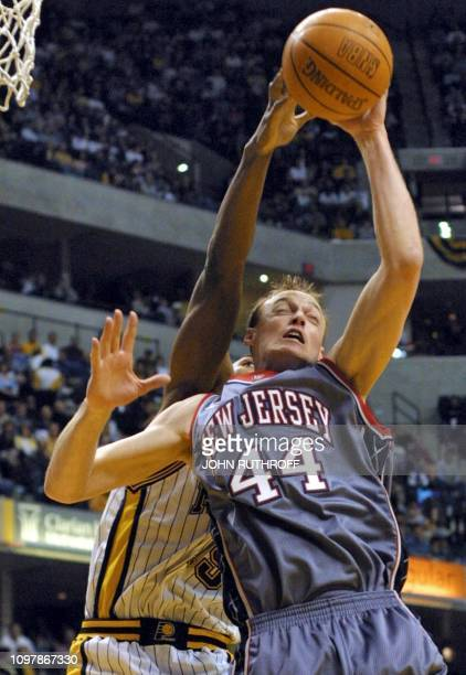 New Jersey Nets  forward Keith Van Horn grabs a rebound from Indiana  Pacers  guard 72f258dcd