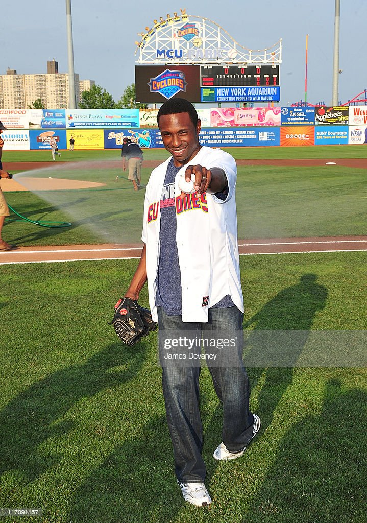 Nets Head Coach Avery Johnson Throws Out The First Pitch At MCU Park - June 21, 2011