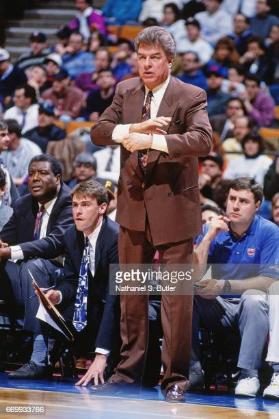 New Jersey Nets Head Coach Chuck Daly looks on during a game played circa 1993 at the Brendan Byrne Arena in East Rutherford New Jersey NOTE TO USER...