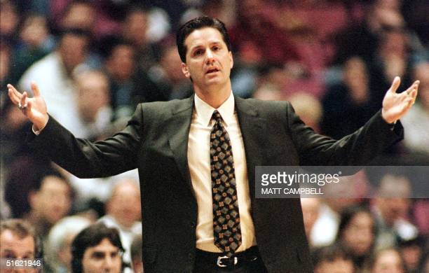 New Jersey Nets head coach John Calipari shows his frustration as his team falls behind by 14 points to the Charlotte Hornets in the first quarter 04...