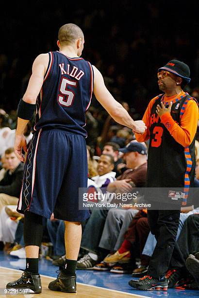 New Jersey Nets' Jason Kidd greets New York Knicks' fan Spike Lee near the end of Game 4 of first-round playoffs at Madison Square Garden. Kidd...